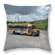 Tropical Bus Throw Pillow