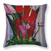 Tropical Caribbean Flowers Throw Pillow