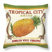 Tropical City Pineapple Throw Pillow by Debbie DeWitt
