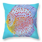 Tropical Discus Fish With Red Spots Throw Pillow