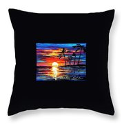 Tropical Fiesta - Palette Knife Oil Painting On Canvas By Leonid Afremov Throw Pillow