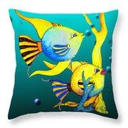 Tropical Fish Fun Throw Pillow