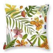 Tropical Flora Throw Pillow
