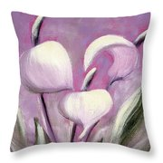 Tropical Flowers In Pink Color Throw Pillow