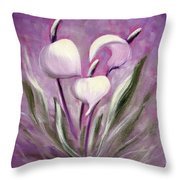 Tropical Flowers In Purple Throw Pillow
