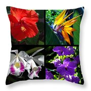 Tropical Flowers Multiples Throw Pillow