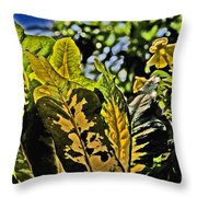 Tropical Foliage A-la Monet Throw Pillow