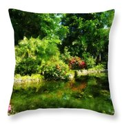Tropical Garden By Lake Throw Pillow