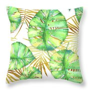 Tropical Haze Blanche Variegated Monstera Leaves, Golden Palm Fronds On Black Throw Pillow