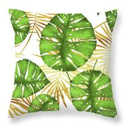 Tropical Haze Green Monstera Leaves And Golden Palm Fronds Throw Pillow