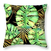 Tropical Haze Noir Variegated Monstera Leaves, Golden Palm Fronds On Black Throw Pillow
