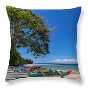 Tropical Island Panorama Paradise Throw Pillow