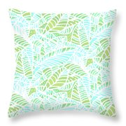 Tropical Lagoon Leaves Throw Pillow