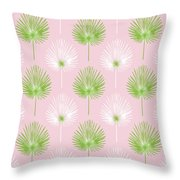 Tropical Leaves On Pink 2- Art By Linda Woods Throw Pillow by Linda Woods