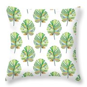 Tropical Leaves On White- Art By Linda Woods Throw Pillow by Linda Woods