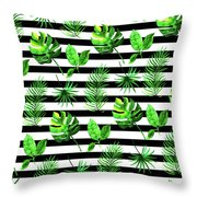 Tropical Leaves Pattern In Watercolor Style With Stripes Throw Pillow