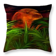 Tropical Moon Throw Pillow