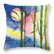 Tropical Moonlight And Bamboo Throw Pillow