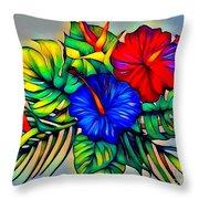 Tropical Neon Boutique  Throw Pillow