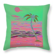 Hot Pink Coconut Palm Throw Pillow