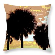 Tropical Palms Work Number Four Throw Pillow