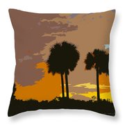 Tropical Palms Work Number Three Throw Pillow