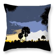 Tropical Palms Work Number Two Throw Pillow