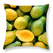 Tropical Papayas Throw Pillow