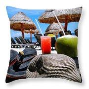 Tropical Paradise Sun, Sand, Beach And Drinks. Throw Pillow