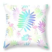 Tropical Pink Flamingos Throw Pillow