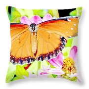 Tropical Queen Butterfly, Soldier Butterfly Throw Pillow