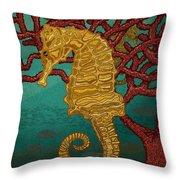 Tropical Seahorses Throw Pillow