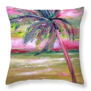 Tropical Sunset In Pink With Palm Tree Throw Pillow