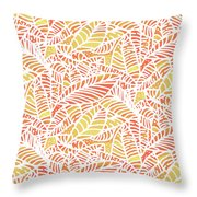 Tropical Sunset Leaves Throw Pillow