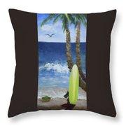 Tropical Surfboard Throw Pillow