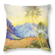 Tropical Vintage Hawaii Throw Pillow