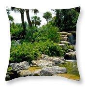 Tropical Water Falls Throw Pillow