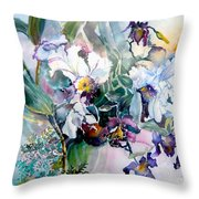 Tropical White Orchids Throw Pillow