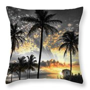 Tropically, Black And Gold. Throw Pillow