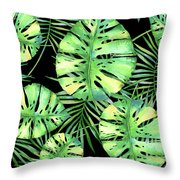 Tropics Noir, Tropical Monstera And Palm Leaves At Night Throw Pillow