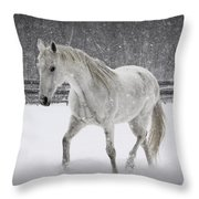 Trot In The Snow Throw Pillow