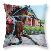 trotter standardbred Horse at the Little Brown Jug Throw Pillow