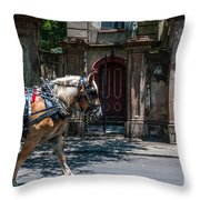 Trotting Into The Past Throw Pillow