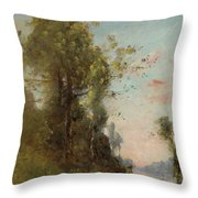 Trouillebert, Paul Desire 1829 Paris 1900 Farmer Sitting On The Edge Of The Water Throw Pillow