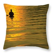Trout Fishing At Sunset Throw Pillow