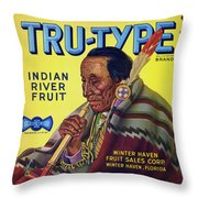 Tru - Type Vintage Fruit Crate Label Throw Pillow