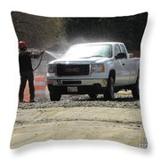Truck Being Sprayed With Water Throw Pillow