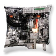 Truck Diesel Engine Isolated On White  Throw Pillow