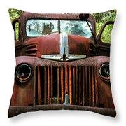 Truck In Medow Throw Pillow