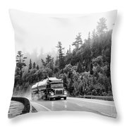 Truck On Foggy Highway Throw Pillow